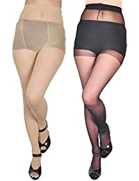 4b744eb8da6 Zoom FASHION WEAR Women s Stocking Suspender Black And Skin Combo Pantyhose  Pack Of 2