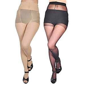 Golazo FASHION WEAR Women's Stocking/Suspender Black And Skin Free Size Fits to S to XL Combo Pantyhose Pack Of 2