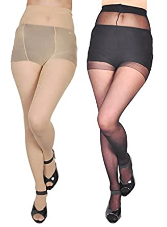 Zoom FASHION WEAR Women's Stocking/Suspender Black And Skin Combo Pantyhose Pack Of 2
