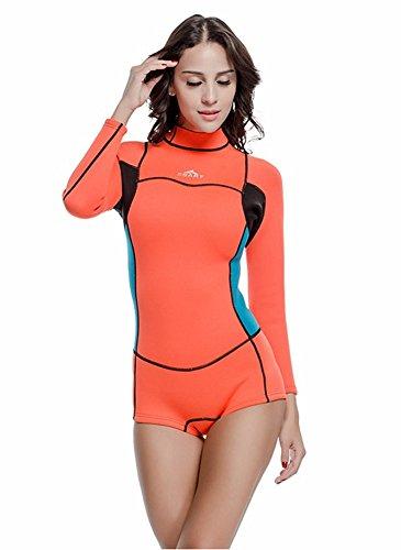 Damen Eins Stück Badeanzug 2mm Neopren Neoprenanzüge Warm Langärmelig Bescheiden Bademode (Int'l-L Höhe: 168-175cm, Orange) (Rock Petite Stück 2)