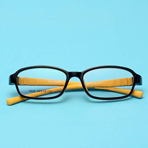 Chengduaijoer Kinder bonbonfarbene Brillenfassung mit weichen, Nicht verschreibungspflichtigen Brillen für Frauen (Color : Yellow)