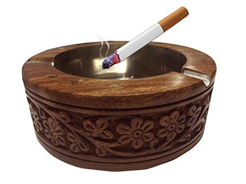 Handgemachte hölzerne runde schnitzende Entwurfs-Aschenbecher-Zigarette, Aschenbecher für...