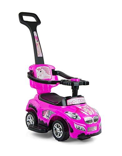 Porteur Auto en 5 couleurs: Voiture pour enfants 3 en 1 évolutif, tige de poussée amovible, siège repliable, Couleur:rose