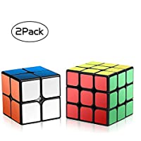 Roxenda Carbon Fiber Sticker Version Cube 3x3x3 Smooth Magic Cube Speed Cube Puzzles with Cube Stand