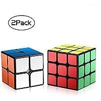 Roxenda Velocidad Paquete, Cubo Mágico Puzzle Pack-2x2x2 3x3x3, Super-Durable Vivos, Fácil de Tornear y Liso Jugar, Color 2x2&3x3 Set (Speed Cube 23