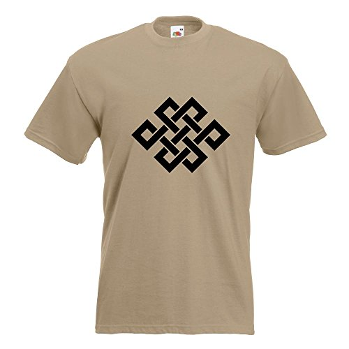 KIWISTAR - Buddhistischer Knoten T-Shirt in 15 verschiedenen Farben - Herren Funshirt bedruckt Design Sprüche Spruch Motive Oberteil Baumwolle Print Größe S M L XL XXL Khaki