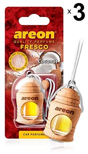 Areon Fresco Deodorante Auto Cocco Profumo Dolce Tropical Legno Bottiglie Da Appendere Specchietto Liquido Pendente Vetro Boccetta Originali Bianco Legami 4ml 3D Casa ( Coconut Set x 3 )