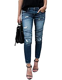 1e5c915c6fe7 Yidarton Femme Jeans Déchiré Push Up Skinny Slim Fit Stretch Boyfriend Denim  Jean Troué Pantalons Jeggings