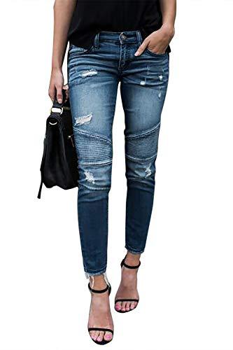 Yidarton Jeans Damen Jeanshosen Röhrenjeans Skinny Slim Fit Stretch Stylische Boyfriend Jeans Zerrissene Destroyed Jeans Hose mit Löchern Lässig Hellblau L