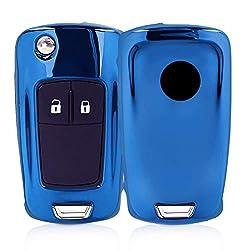 kwmobile Autoschlüssel Hülle für Opel Vauxhall - TPU Schutzhülle Schlüsselhülle Cover für Opel Vauxhall 2-3-Tasten Klappschlüssel Autoschlüssel Hochglanz Blau