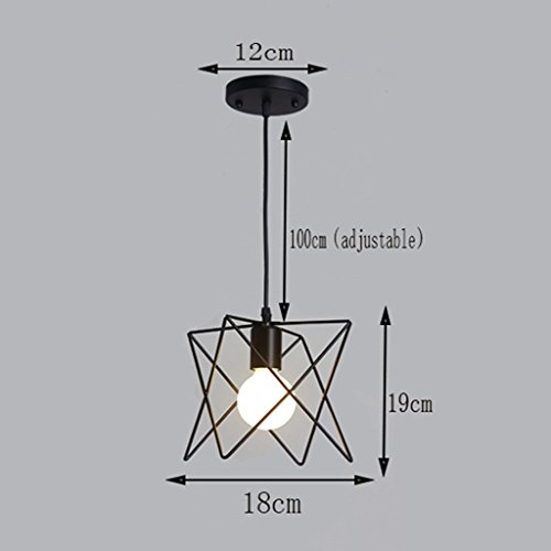 AZW William 337 Black Single Head Schmiedeeisen Deckenbeleuchtung Kronleuchter (18Cm * 19Cm),A-weißes Licht,