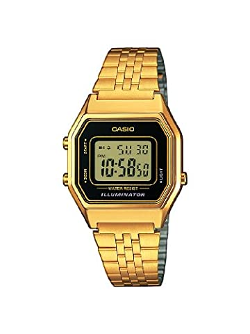 Casio Collection Women's Watch with Gold Digital Display and Stainless Steel Bracelet LA680WEGA-1ER