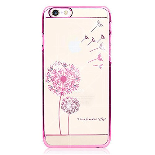 EMAXELERS iPhone 7 Hülle Gold,iPhone 7 Case Transparent Clear Glitzer Liquid Crystal Hülle,iPhone 7 Hard Hülle,iPhone 7 Hülle Rosa,iPhone 7 Hülle Bling 3D Kreative Liquid Case Etui für iPhone 7 4.7 Zo K Dandelion Butterfly 3