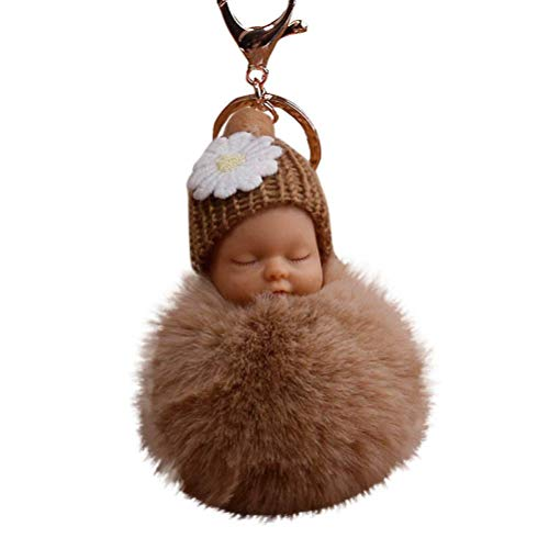 Tree Walking Kostüm - Bobopai 8cm Pompom Cute Fur Fluffy Sleeping Baby Doll Key Chains Keyrings Bags Charm Pendant Khaki