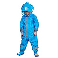 Gagacity Children Boys Girls Waterproof All in one Hooded Rainsuit with 3D Cartoon Shape for Outdoor Play Blue Koala/M
