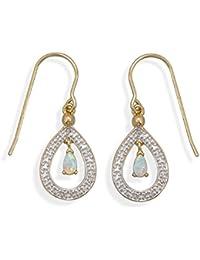 Ohrringe 18 Karat vergoldetes Messing grob Diamant-Akzenten 3 mm X 5 mm, Kunststoff Opal weiß