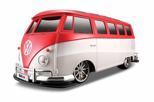 """Maisto Tech R/C Volkswagen Van \""""Samba\"""": Ferngesteuertes Auto im Maßstab 1:10, mit Pistolengriff-Steuerung, Hinterradantrieb, ab 8 Jahren, 40 cm, rot-weiß (581044G)"""