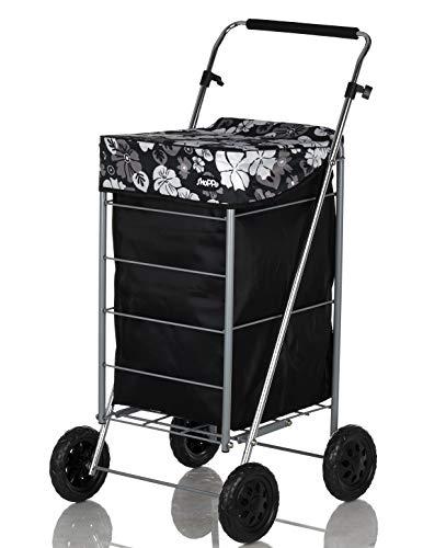 Shoppa Einkaufstrolley mit 4 Rädern, Einkaufstrolley, Einkaufstrolley Black Flower