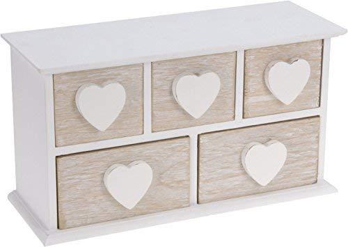 Kleines Holz Schmuckkästchen mit 5 Schubladen - Herz Holzkästchen weiß - Schmuck Schatulle Aufbewahrungsbox -