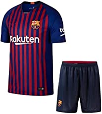 GOLDEN FASHION Football Jersey Barcelona Home KIT RED and Blue 2018-19 Jersey with Short