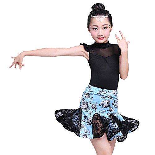 (BOZEVON Kinder Mädchen Tanz Kleidung Ärmellose Oberteile + Blumen Rock Set Latein Tanzkleid Performances Wettbewerb Kostüm, Stil-2/160)