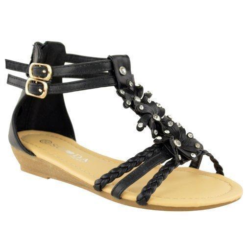 DONNE Gladiatore con spalline zeppa medio TACCO BASSO spiaggia estiva sandali scarpe numero Ecopelle Nera
