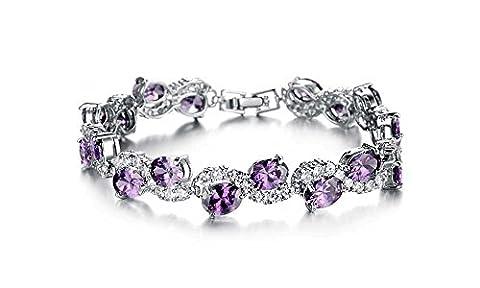 findout dames plaqué or blanc 18 carats belle Bracelet le flash de diamants, pour les femmes les filles, (f1453)