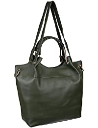 Abrazo Fashionable Green Color Hand Bag For Women's In Good PU Material - B07BGTFQMC
