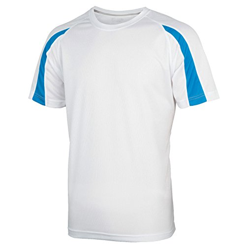AWDis Herren Modern T-Shirt Arctic White/ Sapphire Blue
