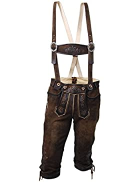 Braune Herren Lederhose, Tracht, echte Kniebundlederhose, Knickerbocker, Ziegenleder, nuss antik