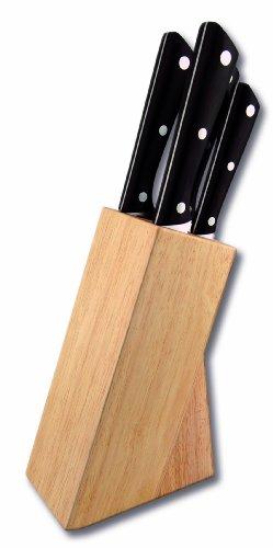 LE COUTEAU DU CHEF 442770 Bloc Hêtre Naturel Comprenant 4 Couteaux de Cuisine Acier Inox Manche POM Noir Carbone