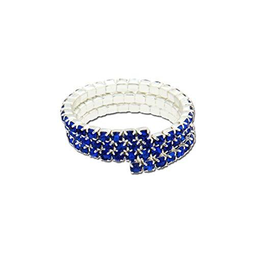 Unoaerre Anello Fashion da Donna in Bronzo Bianco con 3 File di Cristalli - Pietre Colorate Blu