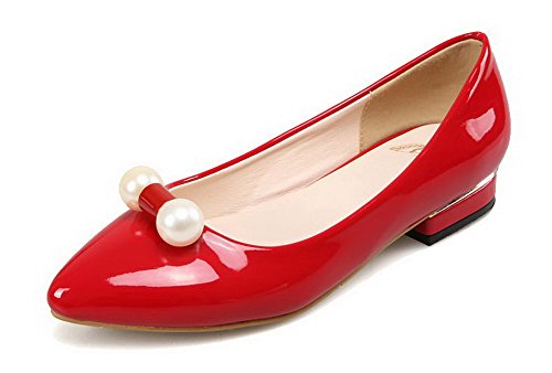 VogueZone009 Femme Couleur Unie Verni Non Talon Tire Pointu Chaussures à Plat Rouge