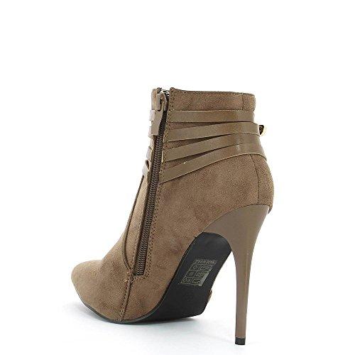 Ideal Shoes–Scarponcini a tallone montantes effetto camoscio con ceinturons Rosine Beige