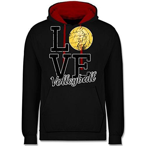Volleyball - Love Volleyball - Kontrast Hoodie Schwarz/Rot