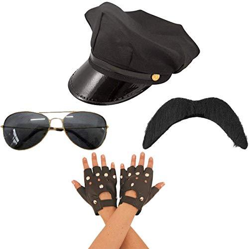 Angies Fashion LTD Erwachsenen-Kostüm Gay Village People Biker Hut Handschuhe Schnurrbärte und Brille 80er Jahre, Einheitsgröße (Biker Handschuhe Kostüm)