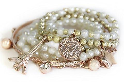 Trendiges Armband in Rosegold-Optik Rosegold Stretcharmband Perlenarmband Modeschmuck Damenarmband Armband von der Marke MyBeautyworld24