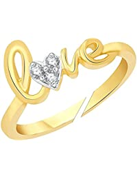 Lady Touch Love Gold Platinum Plated Cz Austrian Crystal Adjustable Ring For Women And Girls (Free Size)