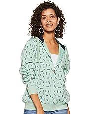 WOKNIT Printed Full Sleeves Womens Hooded Pista Sweatshirt