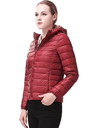 Wjp moda donna Solid colore ultra leggero Packable Giacca corta Down Coat W-01(grande, rosso scuro)