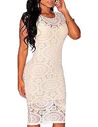 93f98184550d MYWY - Abito Donna Nero Tubino Pizzo Elegante Vestito Bianco Cerimonia Vestitino  Festa
