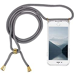 Imikoko Handykette Hülle für iPhone 7/iPhone 8 Necklace Hülle mit Kordel zum Umhängen Silikon Handy Schutzhülle mit Band - Schnur mit Case zum umhängen (Grau)