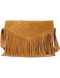 15de919efdd9 HYDESTYLE Genuine Leather Rimor Fringed Envelope Clutch Bag LB55 Tan