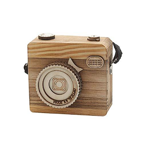 Retro-Spieluhr, Holz-Kamera-Form, Geschenk für Weihnachten, Neujahr, Schlafzimmer-Dekoration (Weihnachts-schlafzimmer Dekorationen)