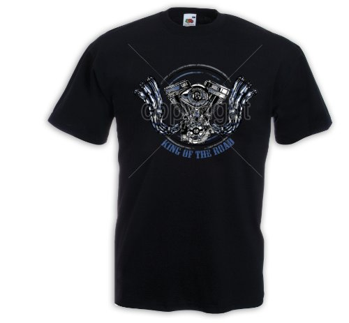 Biker T-Shirt King of the Road 2 Motorcycle Bike Racing USA Skull Schwarz