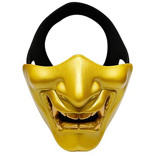 Happyshop Evil Smile Halbmaske Unisex Teufelsmaske Teufelsmaske Dämon Gruselmaske Festival Cosplay Kostüm Deko Maske für Halloween Party Film Requisite Maskerade, Gold, 6.3