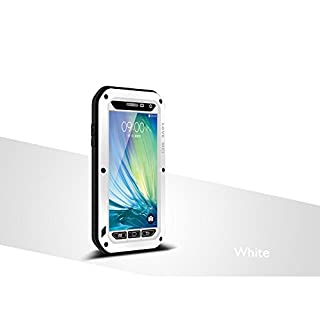 LOVE MEI Waterproof Aluminum Case for Samsung Galaxy A3, with Gorilla Glass Screen Cover Protector White *Two-Years Warry*