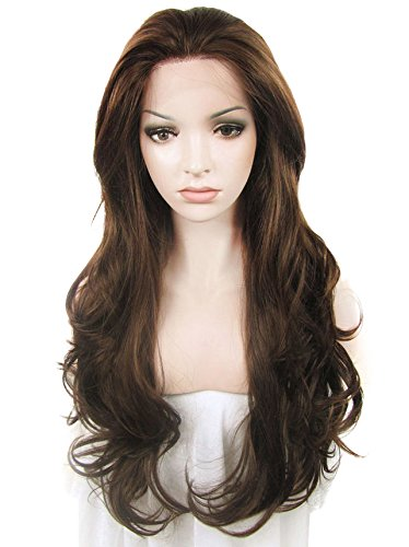 Front Lace Perücken Hitzebeständigen (Imstyle Natural Brown Color Synthetic Lace Front perücke Long Loose Wavy Texture Drag Queen Costumes Lace perücke Lace Front Brown Long Wavy)