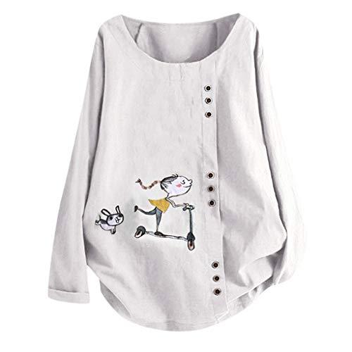 Beikoard Sweatshirts Damen Casual Übergröße O-Neck Print lose Taste Langarm Bluse Hoodies -