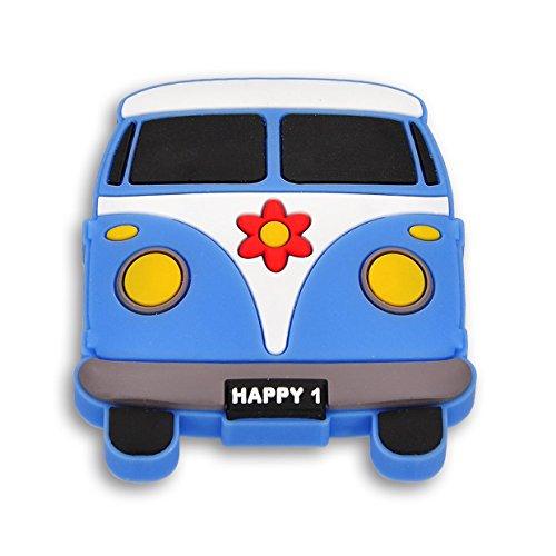 SIRO Möbelknopf Altenberge, Kinder, Auto, Bus, Kunststoff Gummieffekt - Weiß-Blau, 54 mm x 59 mm x 26 mm, H233-52RU41